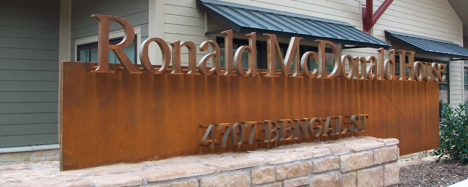 Steelwork sign at the Ronald McDonald House