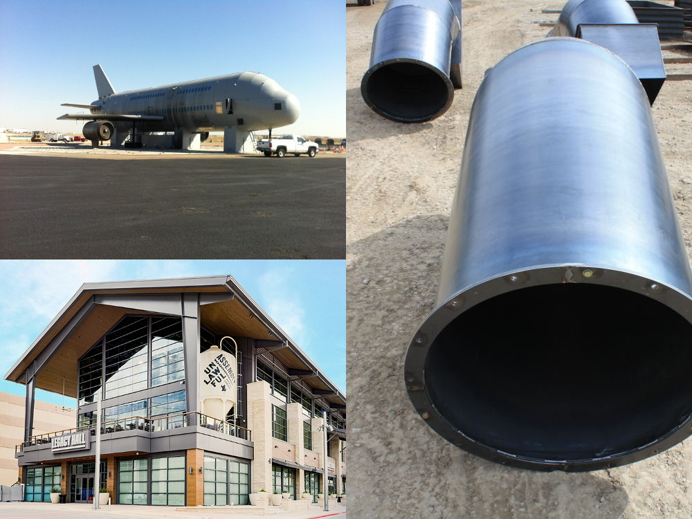 Big steel pipes, city hall and airbus